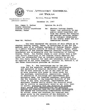 Primary view of object titled 'Texas Attorney General Opinion: M-171'.