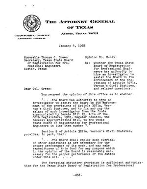 Primary view of object titled 'Texas Attorney General Opinion: M-179'.