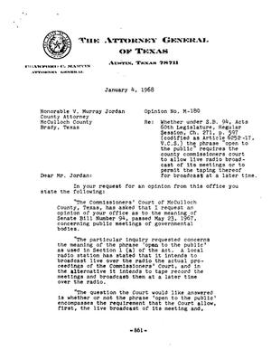 Primary view of object titled 'Texas Attorney General Opinion: M-180'.