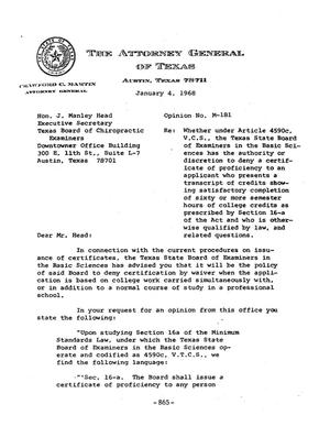 Primary view of object titled 'Texas Attorney General Opinion: M-181'.