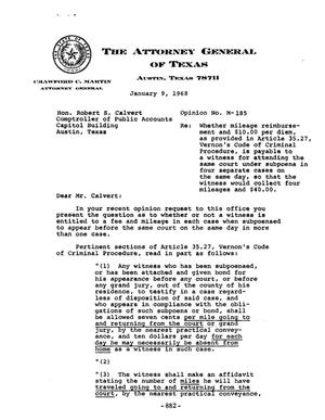 Primary view of object titled 'Texas Attorney General Opinion: M-185'.