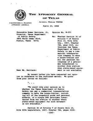 Primary view of object titled 'Texas Attorney General Opinion: M-221'.