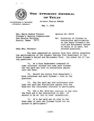 Primary view of object titled 'Texas Attorney General Opinion: M-229'.