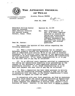 Primary view of object titled 'Texas Attorney General Opinion: M-248'.