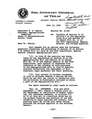 Primary view of object titled 'Texas Attorney General Opinion: M-249'.