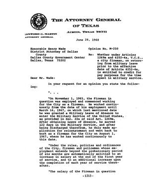 Primary view of object titled 'Texas Attorney General Opinion: M-250'.