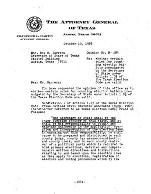 Primary view of object titled 'Texas Attorney General Opinion: M-284'.