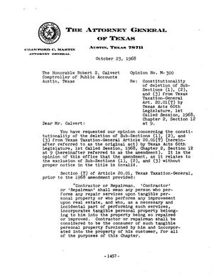 Primary view of object titled 'Texas Attorney General Opinion: M-300'.