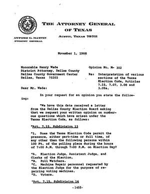Primary view of object titled 'Texas Attorney General Opinion: M-302'.