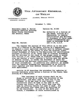 Primary view of object titled 'Texas Attorney General Opinion: M-303'.