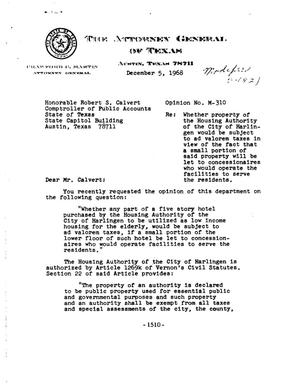 Primary view of object titled 'Texas Attorney General Opinion: M-310'.