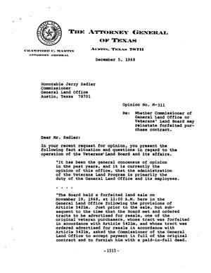 Primary view of object titled 'Texas Attorney General Opinion: M-311'.