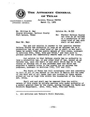 Primary view of object titled 'Texas Attorney General Opinion: M-355'.
