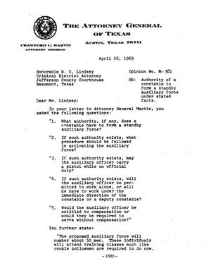 Primary view of object titled 'Texas Attorney General Opinion: M-381'.