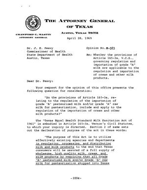 Primary view of object titled 'Texas Attorney General Opinion: M-383'.