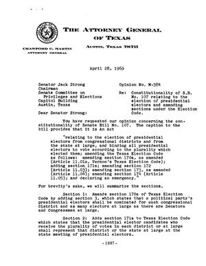 Primary view of object titled 'Texas Attorney General Opinion: M-384'.