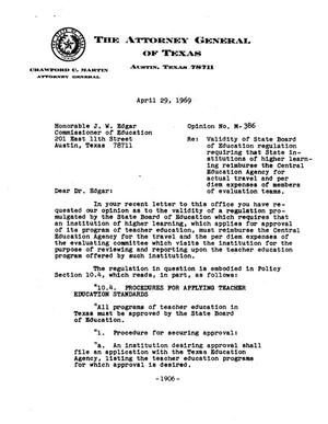 Primary view of object titled 'Texas Attorney General Opinion: M-386'.