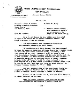 Primary view of object titled 'Texas Attorney General Opinion: M-403'.