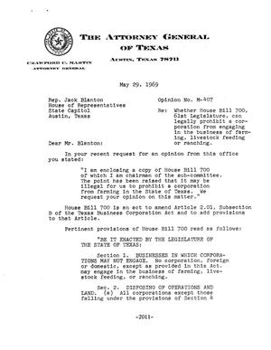 Primary view of object titled 'Texas Attorney General Opinion: M-407'.