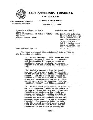 Primary view of object titled 'Texas Attorney General Opinion: M-452'.