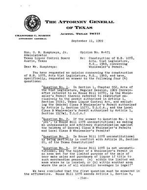 Primary view of object titled 'Texas Attorney General Opinion: M-471'.