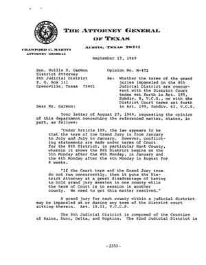 Primary view of object titled 'Texas Attorney General Opinion: M-472'.