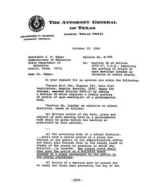 Primary view of object titled 'Texas Attorney General Opinion: M-496'.