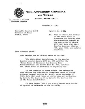 Primary view of object titled 'Texas Attorney General Opinion: M-504'.