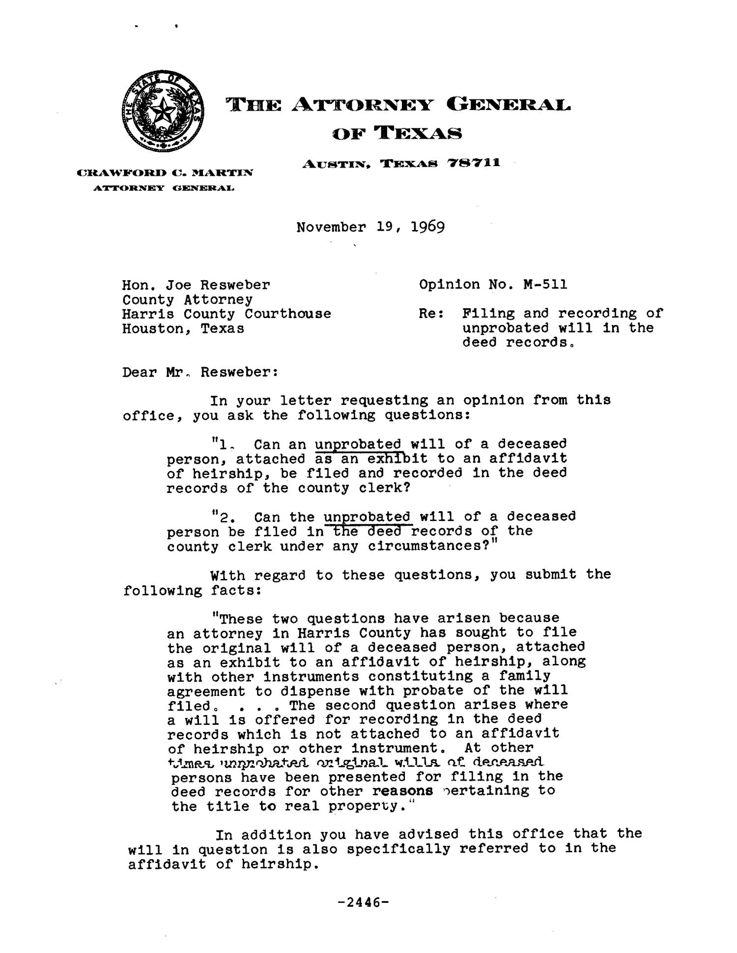 Texas Attorney General Opinion M 511
