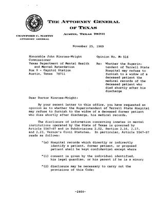 Primary view of object titled 'Texas Attorney General Opinion: M-516'.