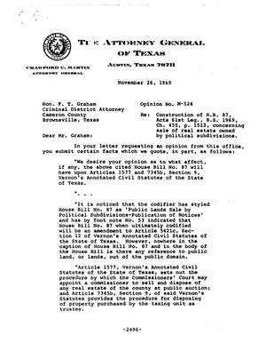 Primary view of object titled 'Texas Attorney General Opinion: M-524'.