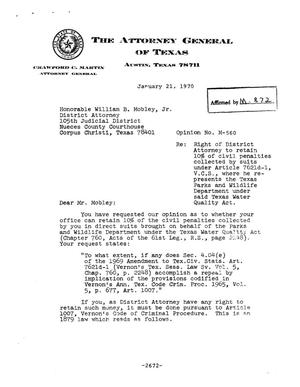 Primary view of object titled 'Texas Attorney General Opinion: M-560'.