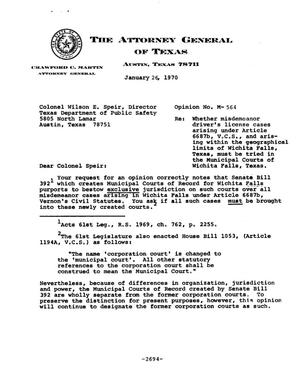 Primary view of object titled 'Texas Attorney General Opinion: M-564'.