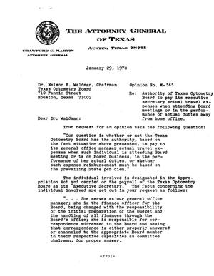 Primary view of object titled 'Texas Attorney General Opinion: M-565'.