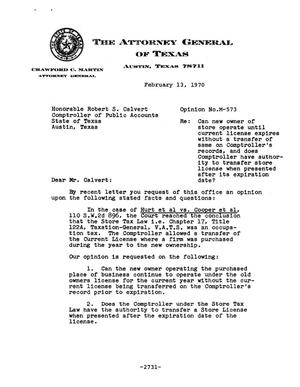 Primary view of object titled 'Texas Attorney General Opinion: M-573'.