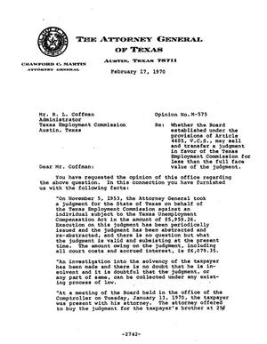 Primary view of object titled 'Texas Attorney General Opinion: M-575'.