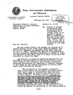 Primary view of object titled 'Texas Attorney General Opinion: M-576'.