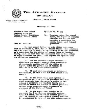 Primary view of object titled 'Texas Attorney General Opinion: M-586'.