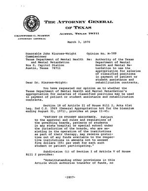 Primary view of object titled 'Texas Attorney General Opinion: M-589'.