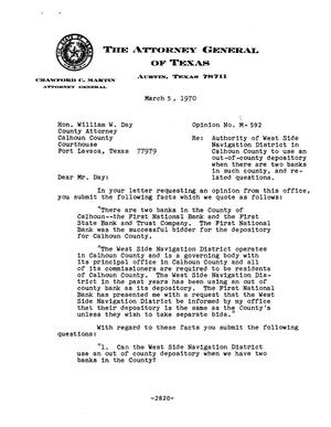 Primary view of object titled 'Texas Attorney General Opinion: M-592'.
