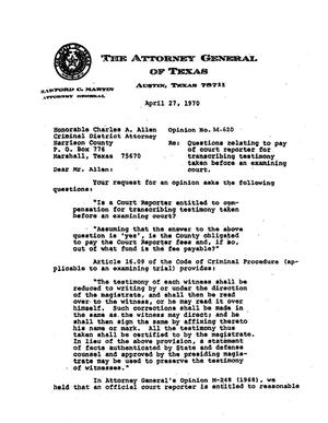 Primary view of object titled 'Texas Attorney General Opinion: M-620'.