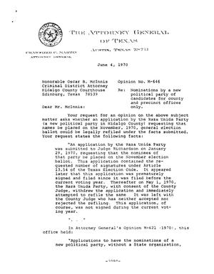 Primary view of object titled 'Texas Attorney General Opinion: M-646'.