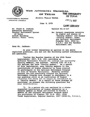 Primary view of object titled 'Texas Attorney General Opinion: M-647'.