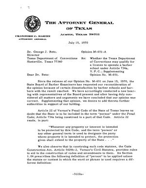 Primary view of object titled 'Texas Attorney General Opinion: M-651A'.