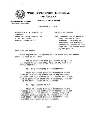 Primary view of object titled 'Texas Attorney General Opinion: M-686'.