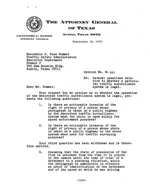 Primary view of object titled 'Texas Attorney General Opinion: M-692'.