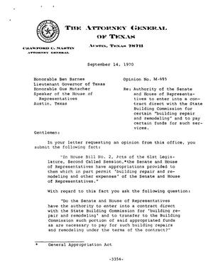 Primary view of object titled 'Texas Attorney General Opinion: M-695'.
