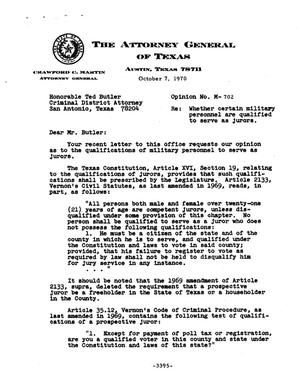 Primary view of object titled 'Texas Attorney General Opinion: M-702'.