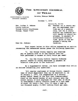 Primary view of object titled 'Texas Attorney General Opinion: M-705'.