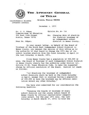 Primary view of Texas Attorney General Opinion: M-740